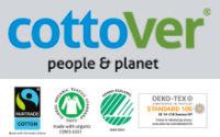 Cottoverlogo med fairtrade, gots, svanemærket oeko-tex logoer - tøj med firmalogo