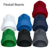 Flexball Beanie i de syv Essential-farver - rød, hvid, oceanblå, marineblå, grøn, sort, stål-grå