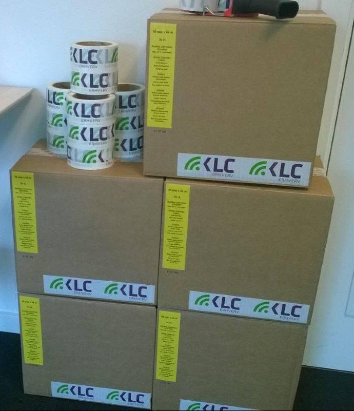 kasser med logotape
