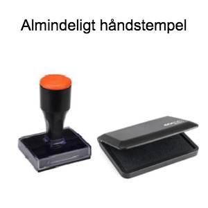farvepude og håndstempel til emballager